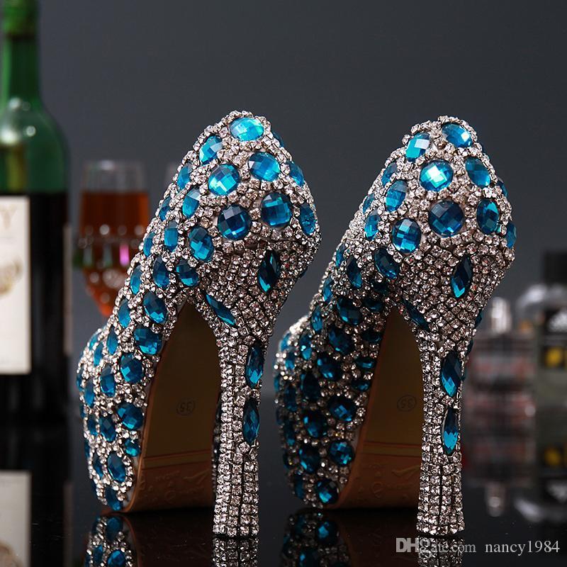 Mode Neue Hochzeit Brautschuhe Frau Hochhackige Blaue Kristall Frauen Schuhe Party die Neue Prinzessin Strass Weibliche Schuhe