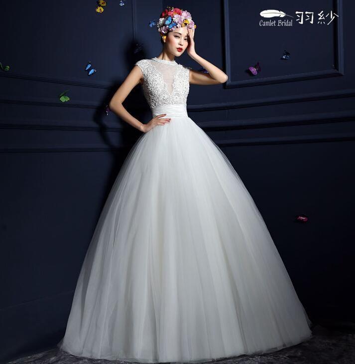 Turtleneck Wedding Gown: Retro Elegant Wedding Dress Sleeveless Turtleneck Decals A