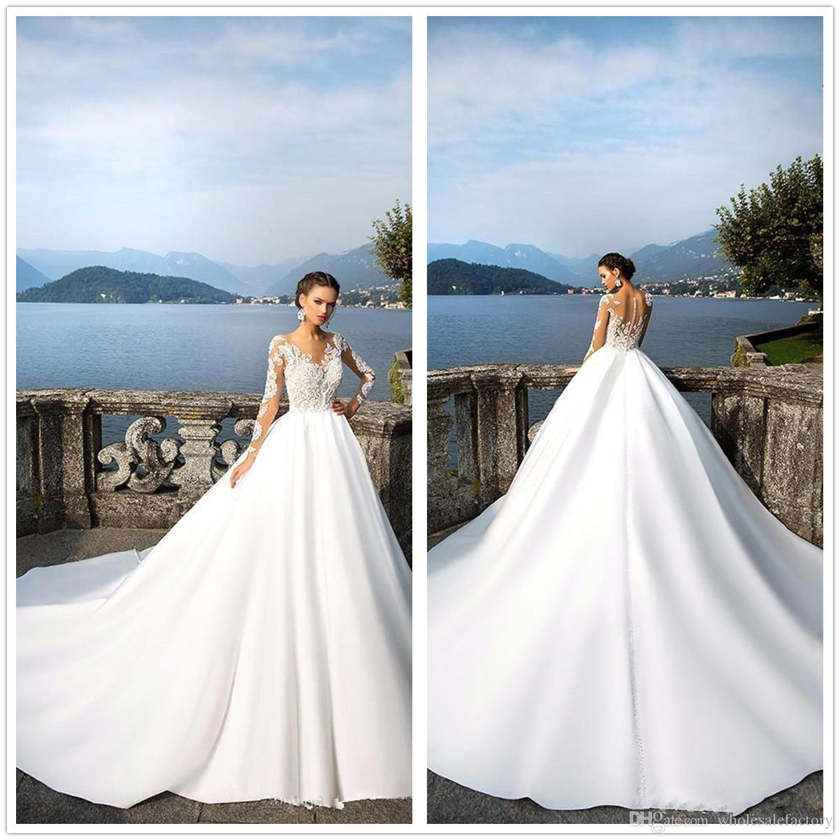 2018 Sheer Long Sleeves Lace Ball Gown Wedding Dresses Satin Sweep ...