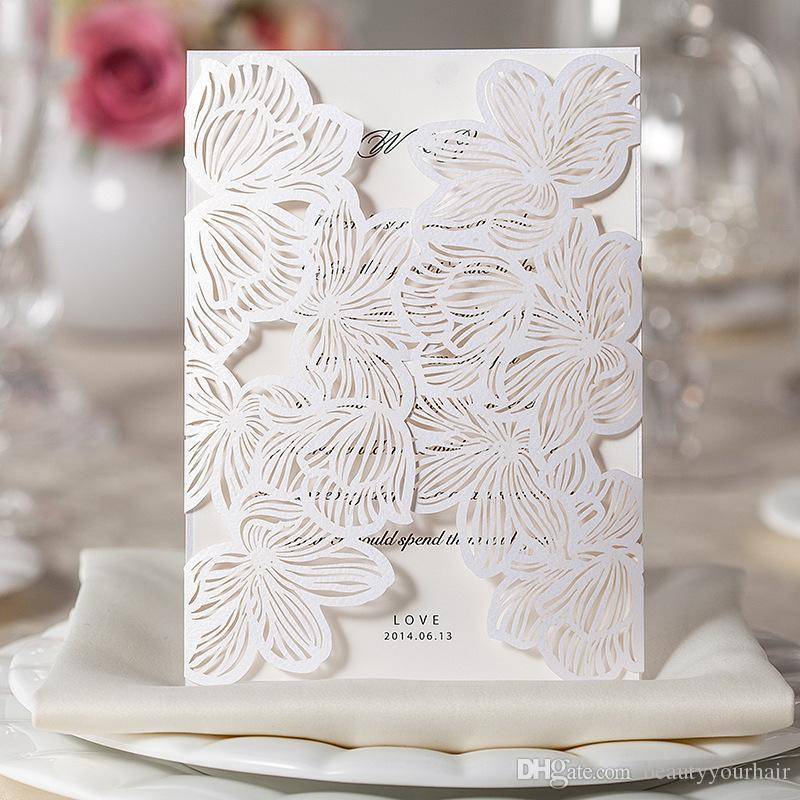 customized lace hollow white flower folded wedding invitations blank