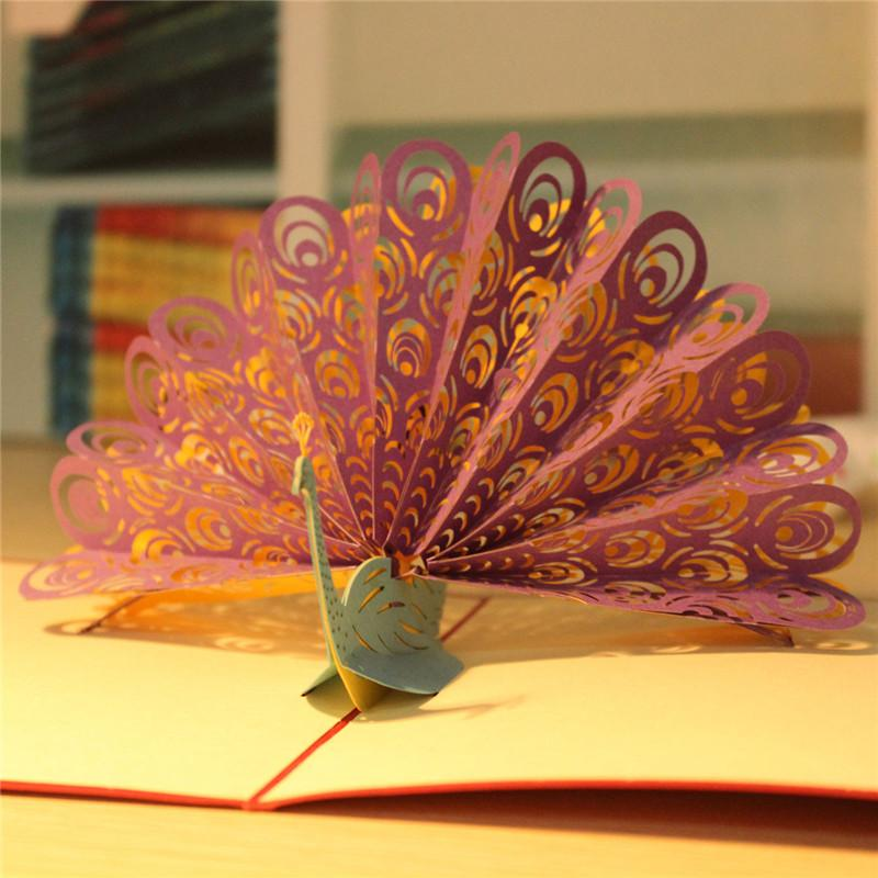 3d Animals Peacock Pop Up Card Birthday Child Greeting Handmade – Birthday Card for Child