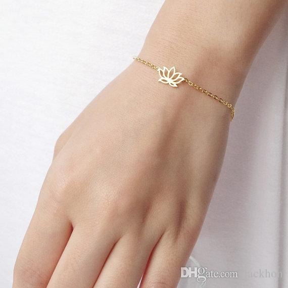 10 шт. - B012 мода золото серебро завод Lotus браслеты крошечные цветок лотоса браслеты для выпускного вечера лепесток браслеты ювелирные изделия для свадьбы