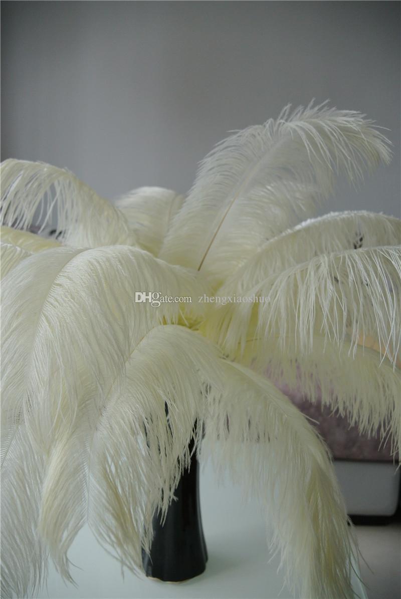 Spedizione Gratuita 12-14 pollici Avorio Ostrich Piuma plumes centrotavola Matrimonio centrotavola decoraction decorazione di cerimonia nuziale decor festa