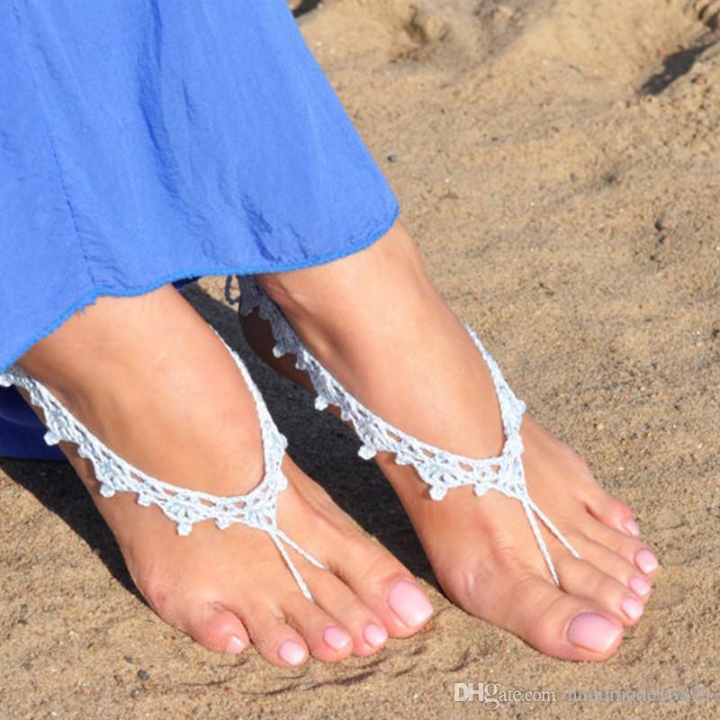 Großhandel Gehäkelte Baby Blue Barfuß Sandalen, Fuß Schmuck ...