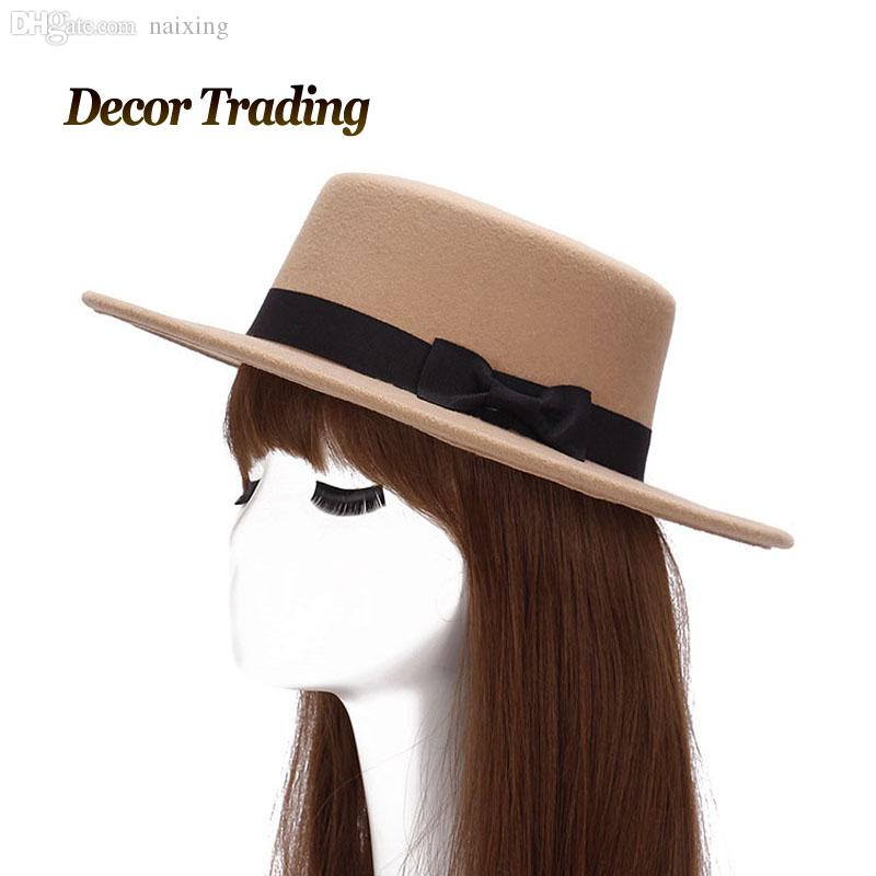 2731fa4bfc424 Wholesale-Autumn Winter Women Men Bowknot Trendy Jazz Flat Top Hat ...