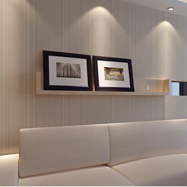 Classic Textured Feature Solid Color Wallpaper Plain Stripe Wall