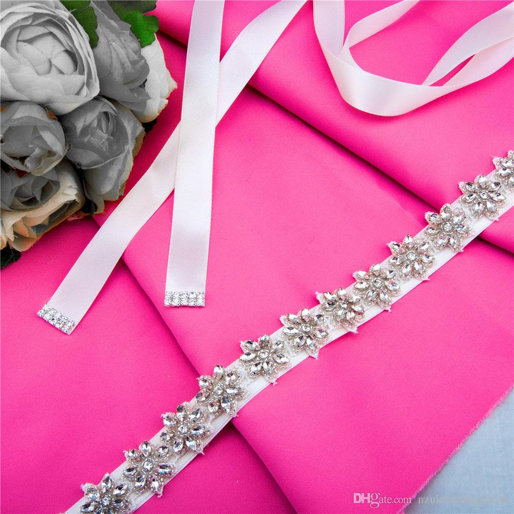 2018 Women's S163 Crystals Rhinestones Wedding Evening Party Gown Dresses Accessories Bridal Bride Bridesmaid Belts Sashes