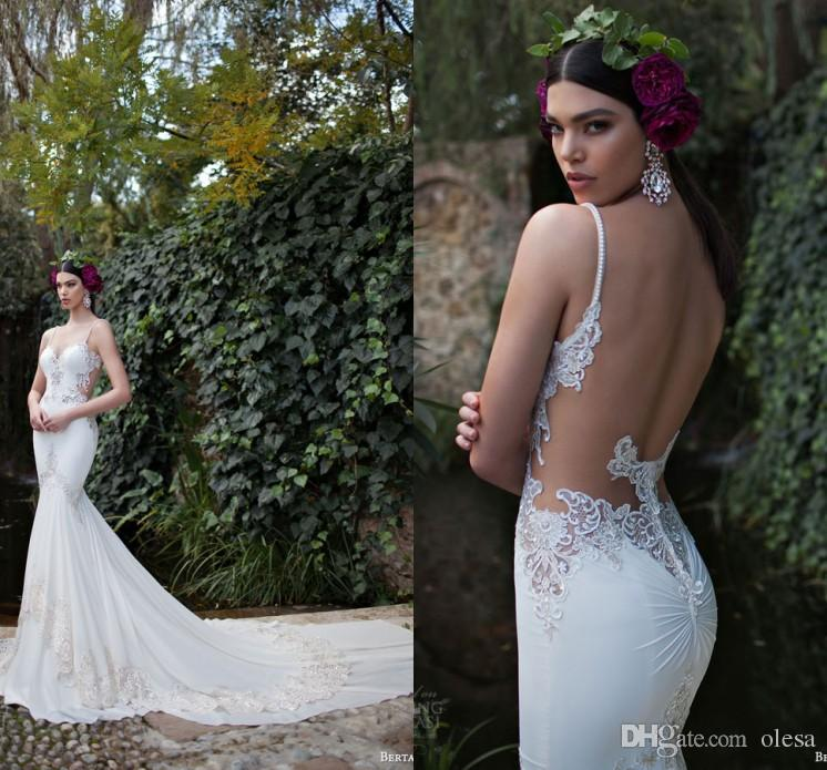 Custom Made Backless Beach Wedding Dress 2016 Berta Bridal Gowns ...