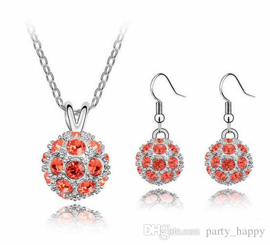 Shamballa Crystal Bead Disco Ball Charm Silver Pendant Necklace Stud Earring Set High-grade High-end Jewelry Earring The Czech Drill Feminin