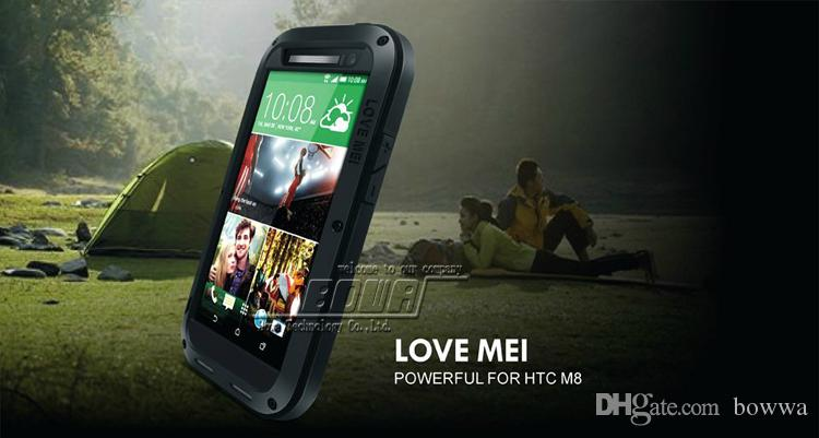 LOVE MEI Metal Aluminum Case Protection Cover Gorilla Glass for HTC ONE M8 M7 Waterproof Shockproof Outdoor Sports Retail Box
