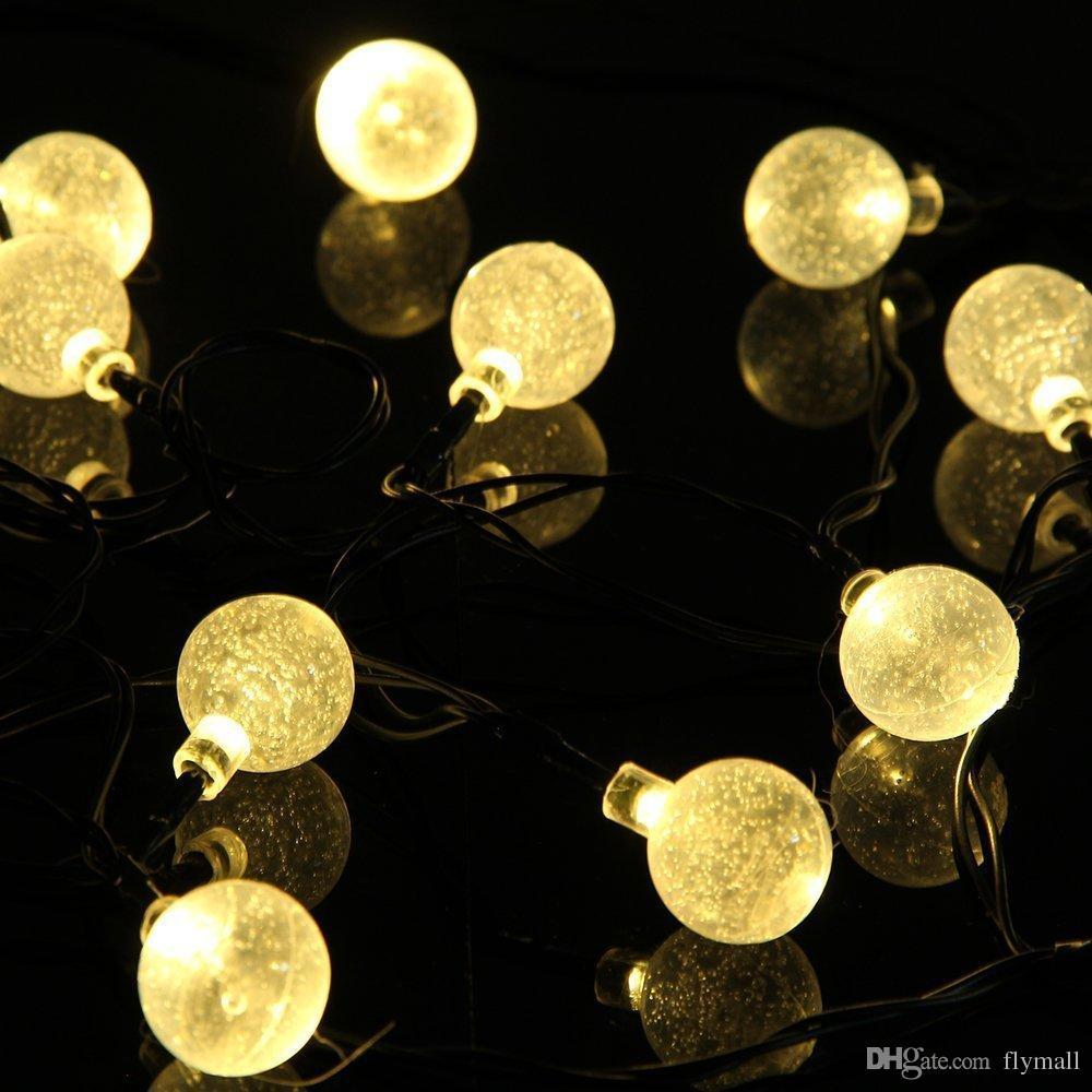 16.4Ft 5M 30 LED Sfera di cristallo luce solare alimentata a luce esterna stringa esterno giardino patio festa natale stringhe di luce solare fata