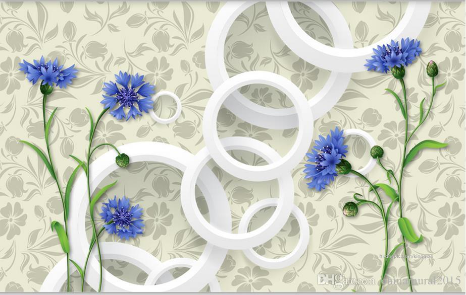 Carta Da Parati Moda.Acquista Carta Da Parati Della Stanza 3d Fiore Caldo Di Moda Blu