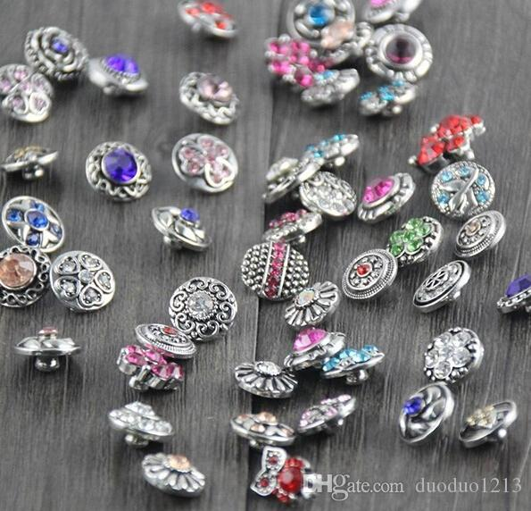 small button giner Mixed 12mm 10pcs/lot New Mini Snap Buttons Rhinestone Colorful Pattern DIY snap button charm mix styles colors button