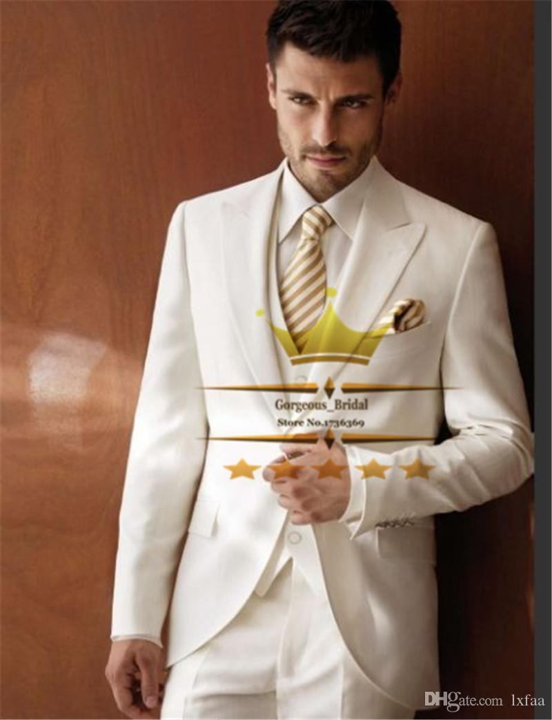 Best Quality Ivory Peak Lapel Mens Tuxedos Wedding Suit For Men ...