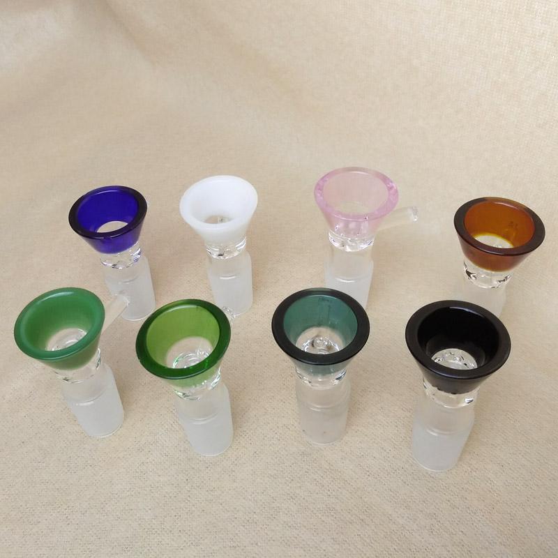 Embudo 14 mm 18 mm Cuencos de vidrio para Bongs Tubo de fumar de tazón de vidrio de colores de juntas masculinas Para vidrio Bongs Plataformas petroleras Tubos de agua