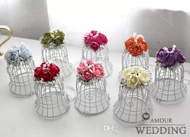 50 шт. Белая птичка клетки свадебная подарочная коробка вручает металлические птица клетка конфеты с цветочным декором роза 8 цветов для выбора