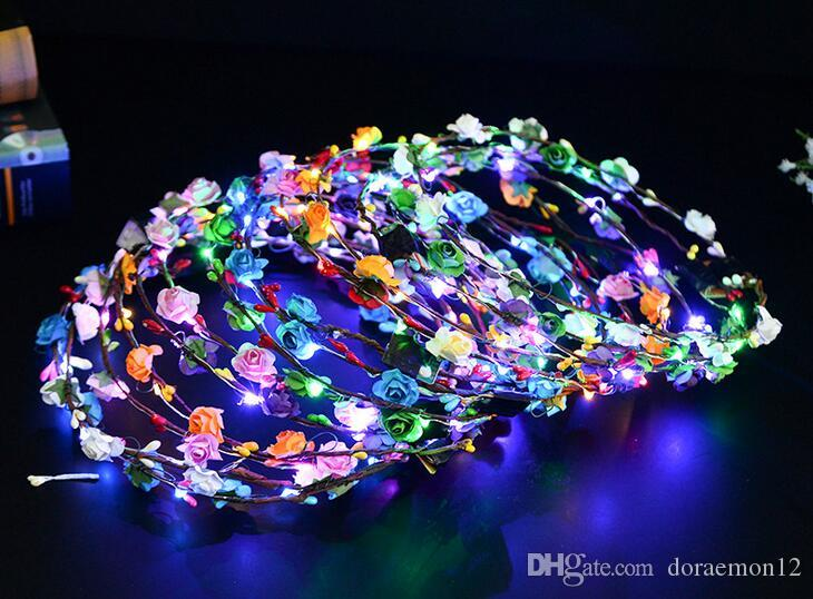led light lamp wreathed hawaiian lei rave toy dreamy romantic flower