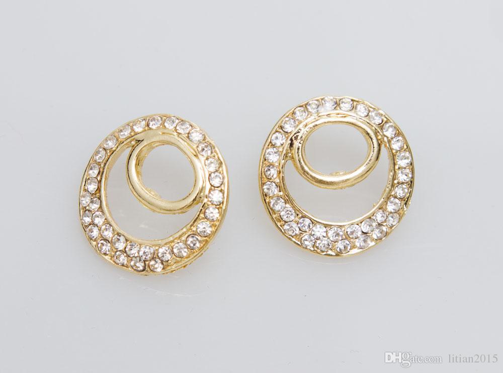 O Envio gratuito de 2015 Mulheres Moda Clássico 18 K Banhado A Ouro Colar Bangle BrincosRing Conjuntos de Jóias Traje Africano Acessórios Do Casamento