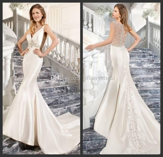 Form Fitting White Satin Mermaid Wedding Gowns Sexy See Through Back Crystal Brida Dresses With Beading To Train 100 Handmade Dress Custom