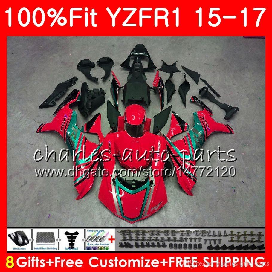 Cuerpo de inyección Para YAMAHA Rojo brillante YZF 1000 YZF-R1 15 17 YZF R1 2015 2016 2017 87NO30 YZF1000 YZF R 1 YZF-1000 YZFR1 15 16 17 Kit de carenado
