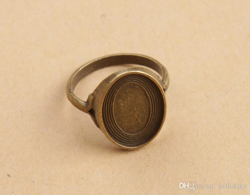 Antiqued Bronze Base Ring Blank Settings 18x13mm # 91348