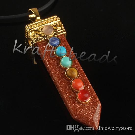 Wholesale Gold Plated 7 Stone Beads Stone Sword Shape Chakra Healing Point Stone Pendant Jewelry Gift Can choose color