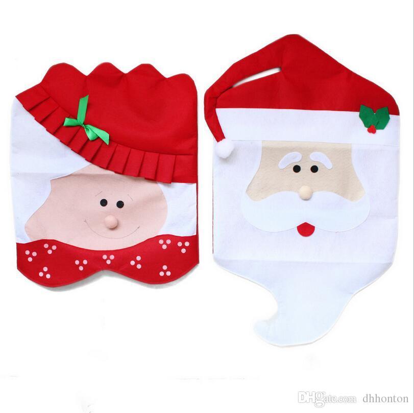 Santa Claus Chaise Couvre Noël Couple Tissu À Manger Table Décorations De Noël Décoration Fournitures Noël maison chria décoration CT01