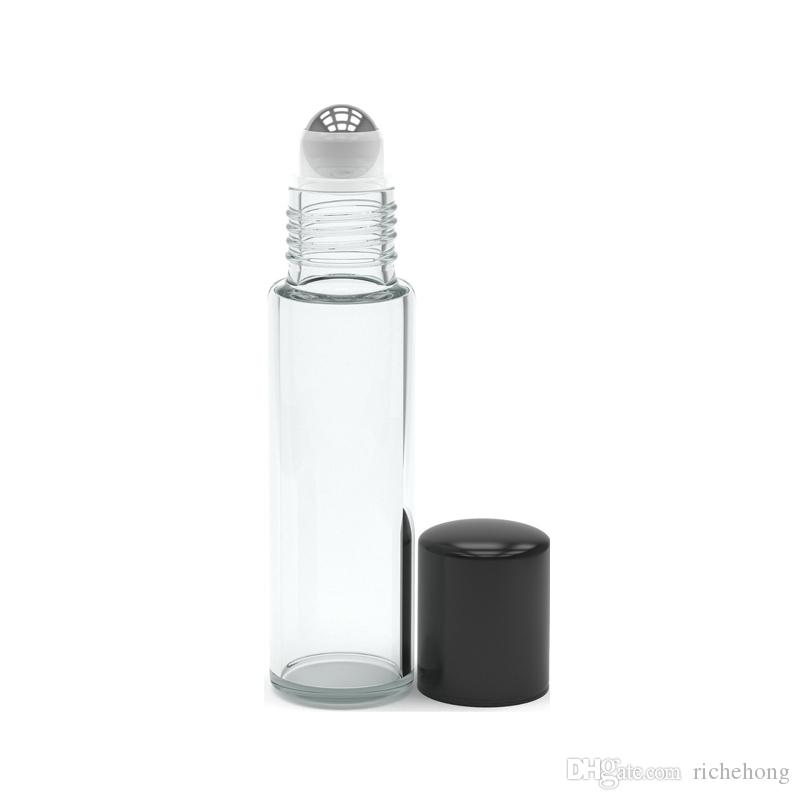 Empty Roll on Glass Bottles [STAINLESS STEEL ROLLER] Clear - 10ml Refillable Color Roll On for Fragrance Essential Oil - Metal Chrome Roller