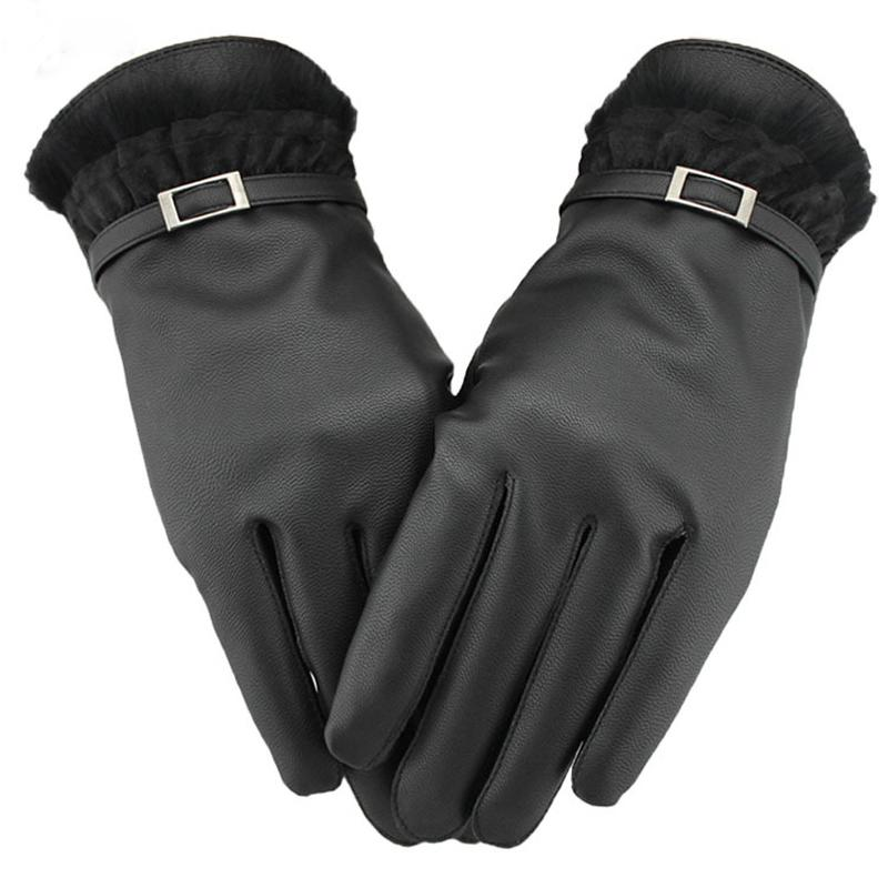 Hot Sale PU Leather Screen Touch Gloves Warm Black PLush Edge Driving Telefingers Gloves For Iphone Ipad Mobile ENX*10
