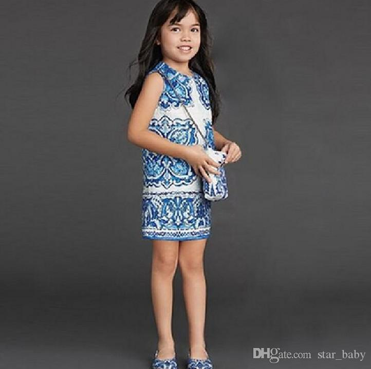 2016 Spring Luxury Big Girls Jacquard Dress China Blue Art Sleeveless Cotton Children Clothing Kids Dresses K6359