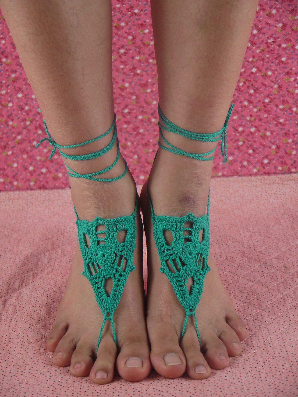Sandalias descalzas de la boda, sandalias descalzas verdes nupciales, zapatos desnudos del partido de la playa, joyería del pie, accesorio de la pierna, decoración del pie