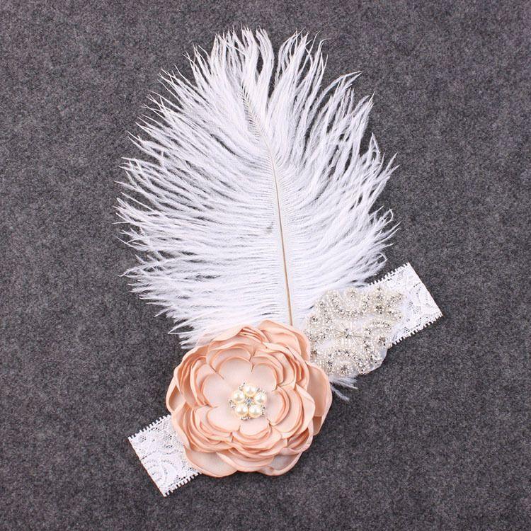 Perla de la flor de la muchacha gran avestruz pelo de la gasa de la venda del cordón del bebé Accesorios de plumas Injun juego de roles Hairband infantil apoyo de la foto YM6107