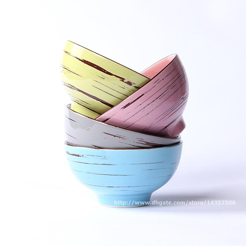 Japanese Ceramic Rice Bowls Set Of Cracking Glaze Hand Painted
