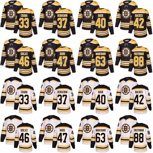 d3830be4248 2019 Boston Bruins 33 Zdeno Chara Jersey 2017 2018 New Style 37 Patrice  Bergeron 63 Brad Marchand Jerseys Black White 88 David Pastrnak Black Whi  From ...