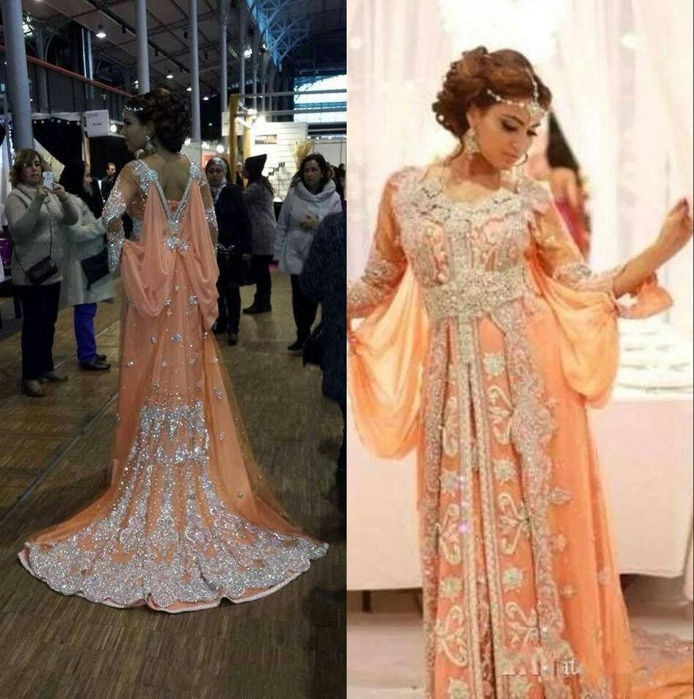 Peach Dubai Arabic Fashion Kaftan Evening Dresses Long Sleeves Robe Caftan Silver Applique Beaded Shiny Backless Formal Evening Gowns