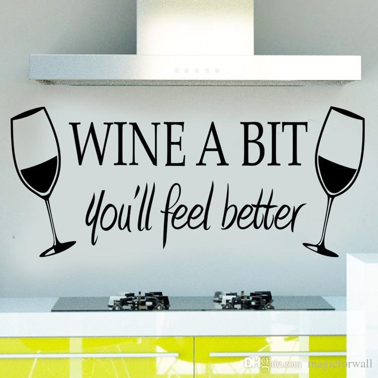 Вино немного вы будете чувствовать себя лучше стены цитата наклейка наклейка два бокалы стены искусства росписи плакат декор кухня обои графический