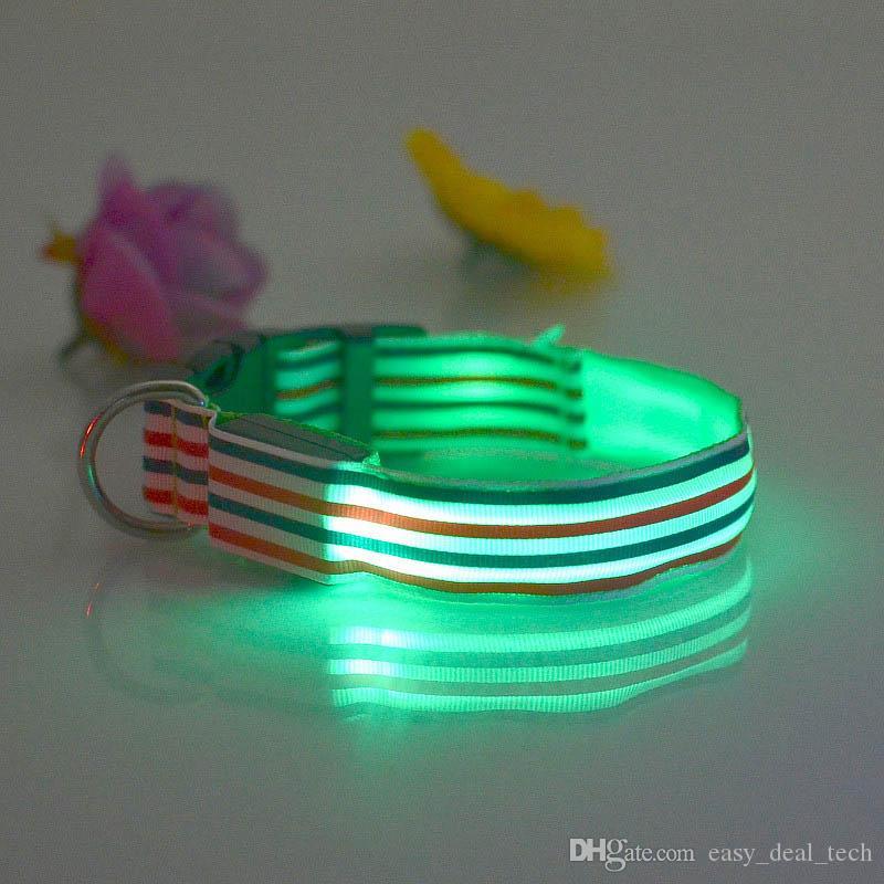 Moda collare di nylon LED Pet collare regolabile luci notte Flash collare di sicurezza led collari luminosi Pet Outdoor Supplies Q0254