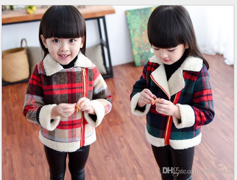 1f8de542c Kids Long Sleeve Warm Coat Children Winter Antumn Thick Plaid Jacket ...