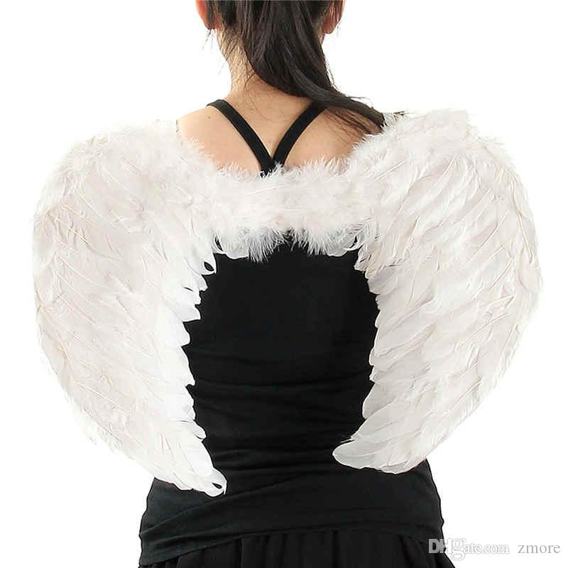 تأثيري ريشة أجنحة الملاك أنيقة هالوين ازياء حزب اللوازم أبيض أسود أحمر الألوان مثالية للنساء عيد تنكر البندقية