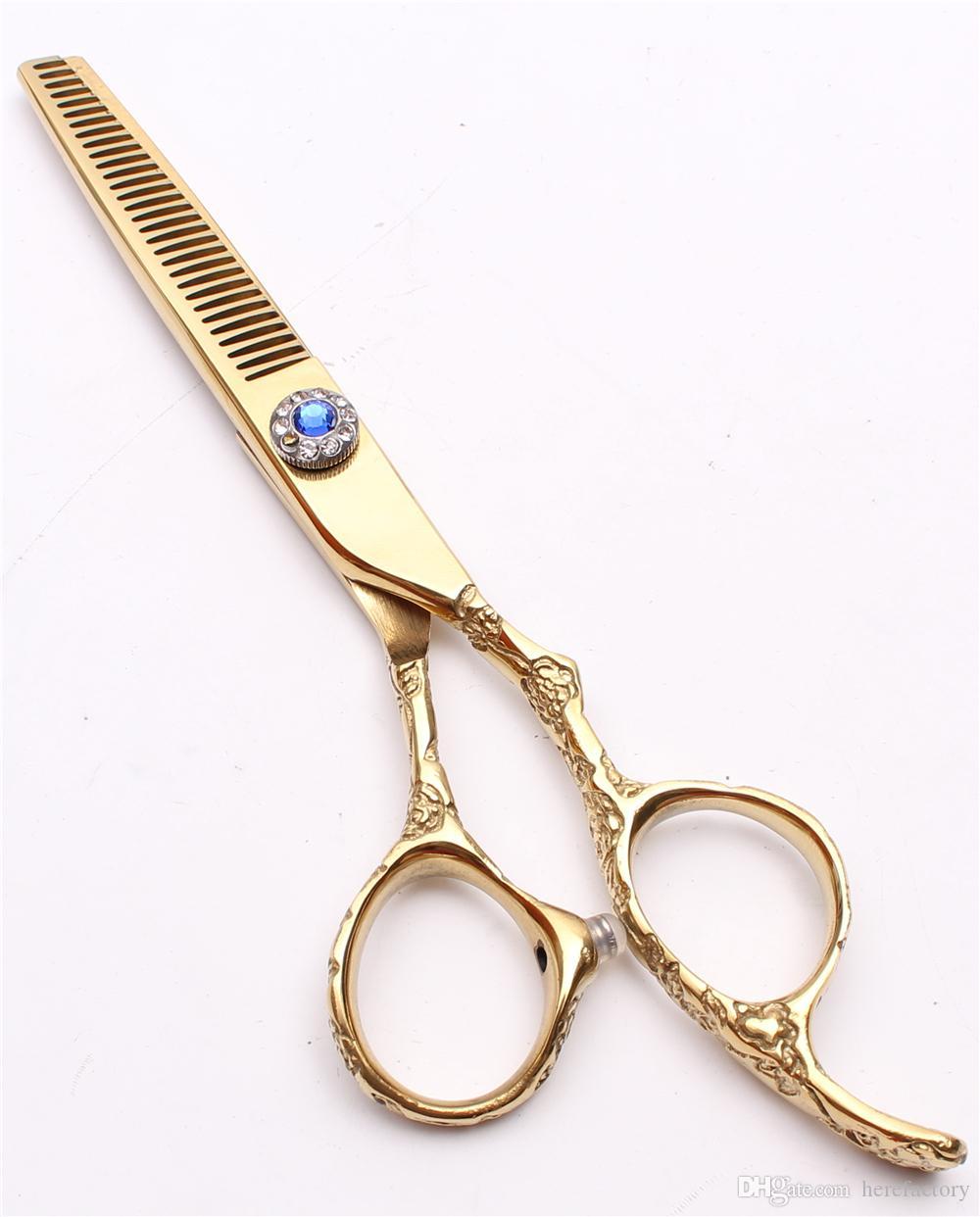 "C9002 6"" 440C Customize Logo Laser Gold Professional Human Hair Scissors Barbers' Hairdressing Scissors Cutting Thinning Shears Plum Handle"