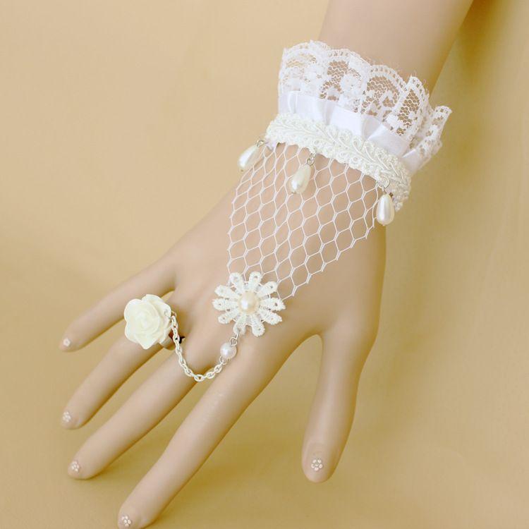 Wedding Bridal Bracelets Party Prom Jewelry 2018 Elegant Lace Flower Pearl Jewelry Retro Bracelet with Ring