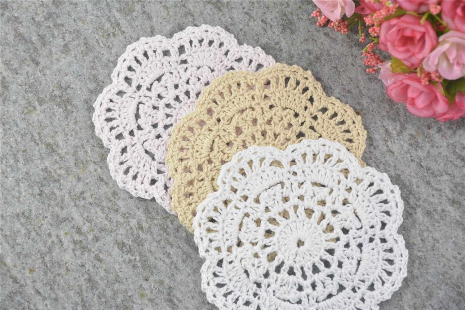 DIY Design Wedding Handmade Crochet Coasters Doily Placemats Crocheted Doilies Size 4 inches / Custom Color _DSC0221