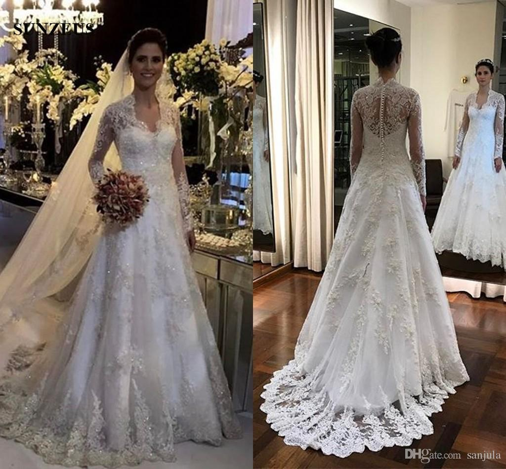 Discount Long Sleeve Princess Wedding Dresses Sparkle Sequins Beaded ...