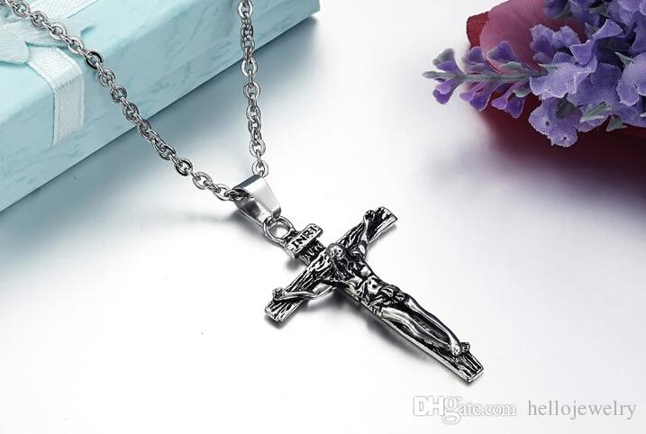 Hot Sale Classical Titanium Stainless Steel Cross Jesus Pendant Chain Necklace Vintage Religious retro jewelry O chain