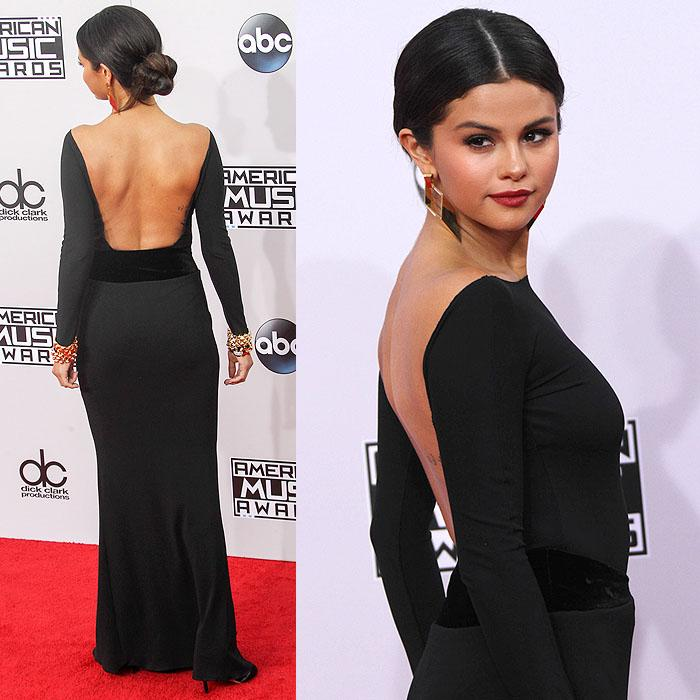 Selena Gomez Women Formal Evening Dresses Black Mermaid Party Dress ...