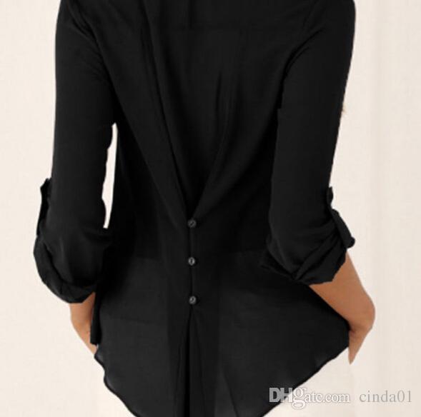Le donne Plus Size Top elegante scollo a V moda casual camicette a maniche lunghe in chiffon autunno primavera estate Tees