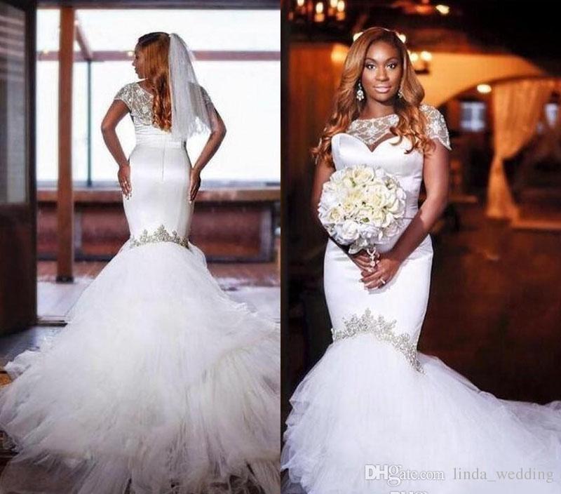 2018 Cheap African Girls Wedding Dress Elegant Mermaid Cap Sleeves