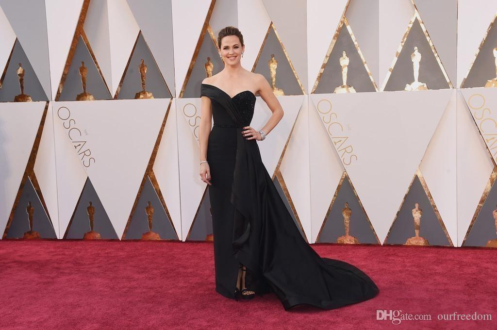 Oscars 88th Jennifer Garner Tapis Rouge Black Celebrity Robes Une Épaule Robes Arabe Formelle Soirée De Bal Robes Vestidos