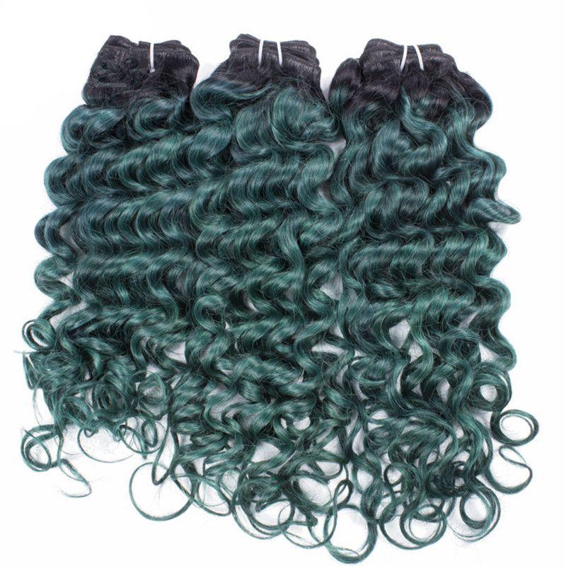 페루 버진 인간의 머리카락 번들 두 톤 1b 녹색 옹이 머리 직조 깊은 웨이브 곱슬 머리 Weft /