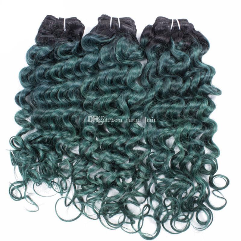 옹 브 인간의 머리카락 번들 딥 웨이브 녹색 2 톤 컬러 딥 곱슬 머리 Weft 브라질 버진 헤어 위브